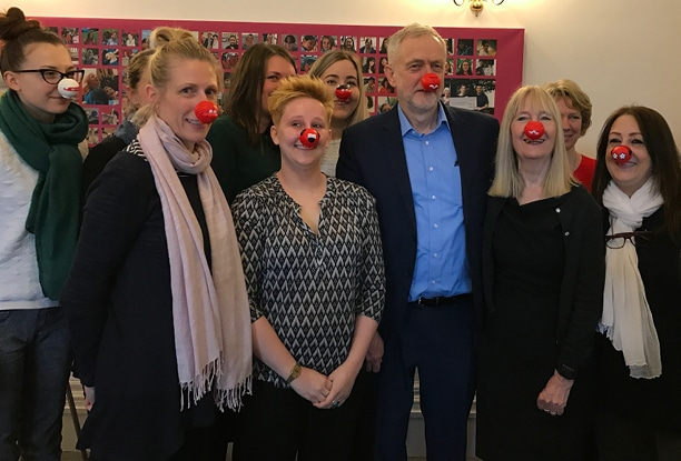 Jeremy Corbyn visits our offices on Red Nose Day
